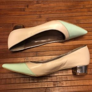 Tahari Kat Kitten Heel Mint and Nude Heels 5.5